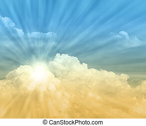 clouds and sun ray, blue and orange