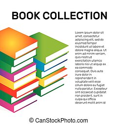 Isolated colorful books collection vector logo. School logotype.