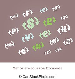 Isolated currency exchange signs vector set. International...
