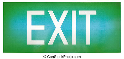 Green emergency exit sign - A green illuminated emergency...