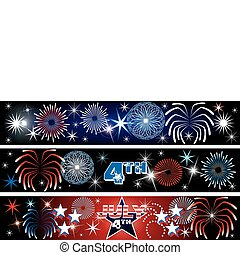 July 4th Firework Banners - Vector Illustration for the 4th...