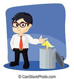 businessman throw banana peel in trash can