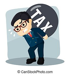 businessman carrying his tax