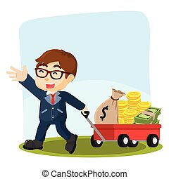 businessman pulling cart with lot of money