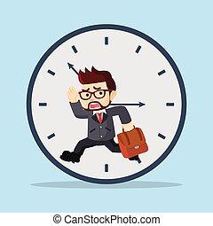businessman running inside a clock