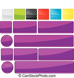 Set of unusual multicolored buttons, part 14, vector illustration