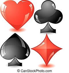 Card Suit - Set of shiny card suit, part 2, vector...