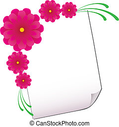 Background with sheet of paper and flowers, part 3, vector illustration