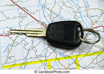 Car Key on Road Map