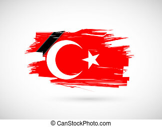 turkish ink flag and black ribbon illustration graph design