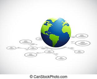 globo, red, diagrama, concepto