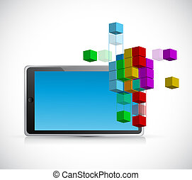 tablet and 3d model cube illustration design graphic