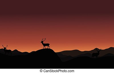 At sunset antelope landscape silhoutte on brown backgrounds