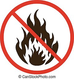 No fire forbidden sign on white - No fire forbidden sign...