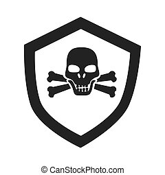 Danger badge skull icon vector illustration