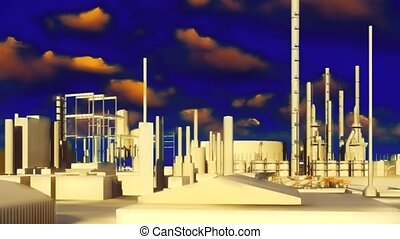 Refinery animation - Refinery at sunset animation