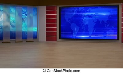 News TV Studio Set - - News TV Studio Set 195- Virtual Green...