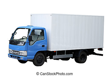Small compact van separately on a white background