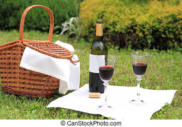 Picnic with wine - Outdoor picnic setting with wine