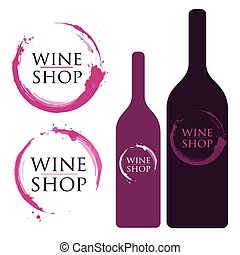 Wine Logo with Stains and Splashes.