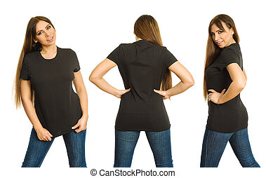 Woman with blank black shirt three views