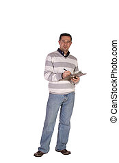 Casual Businessman With a Clipboard on an Isolated...