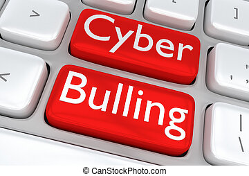 Cyber Bullying concept - 3D illustration of computer...