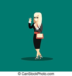 Business woman in black costume vector illustration.
