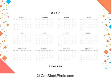Calendar 2017 year simple style Week starts from sunday...