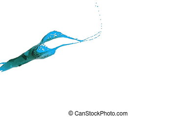 close-up view of blue color splash in slow motion
