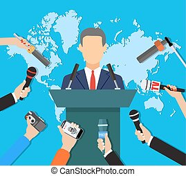 Press conference, world live tv news, interview