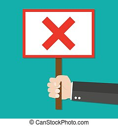 Cartoon Businessman hand hold sign with red cross