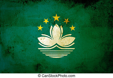 Macau flag on grunge paper