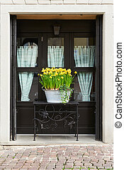 flowerpot in front of a window