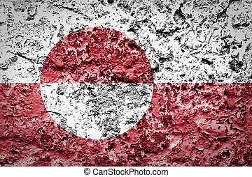 Greenland flag on concrete wall