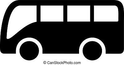 Bus Icon - Black bus icon isolated on white