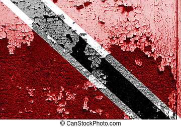 Trinidad and Tobago flag on grunge wall