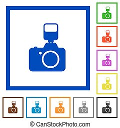 Camera with flash framed flat icons - Set of color square...