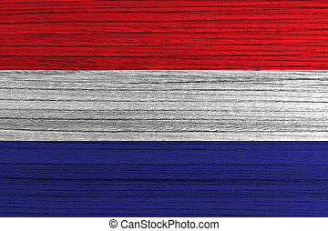 Netherland flag painted on wood background