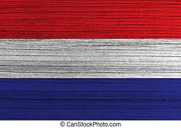Netherland flag painted on wood background