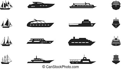 Ship and boat vector icon set - Ship and boat vector icon....