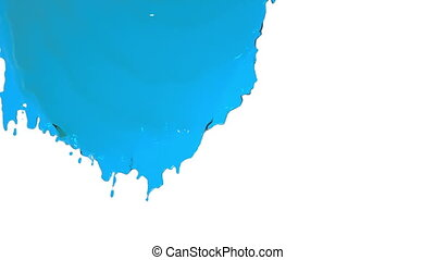 blue paint flowing down in slow motion