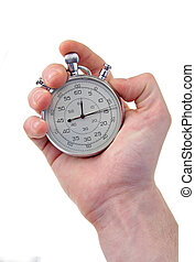 stop-watch - human hand holding a silver stop-watch,...