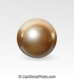 Pearl realistic isolated on white background - Bright gold...