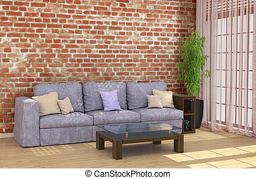 Loft interior with brick wall sofa and coffee table by the window. 3d illustrations
