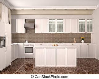 modern style kitchen interior 3d illustration