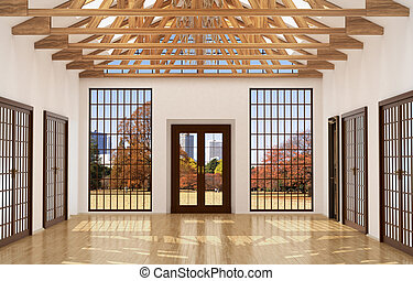 Loft interior Great Hall with mirror, large windows and...