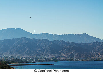 View on Aqaba sea port . Red Sea . - View of Aqaba and the...