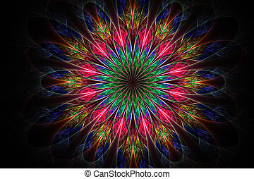 Computer generated fractal flowersin multicolored color -...