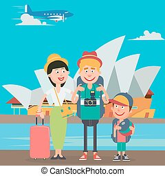 Happy Family Travelling by Plane to Australia. Father,...